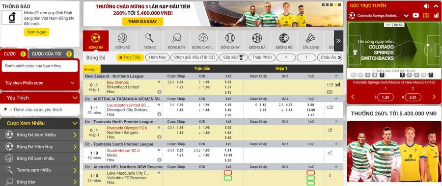Cá cược thể thao trực tuyến tại các nhà cái uy tín