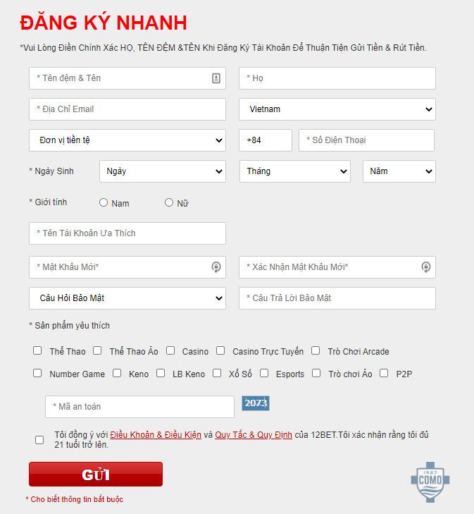 Cách đăng ký tài khoản 12bet