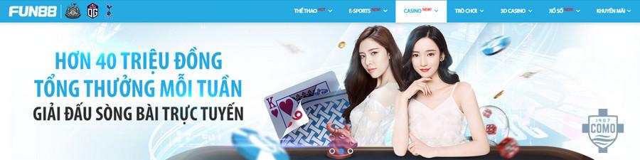 Casino online tại Fun88 có tiền thưởng rất lớn