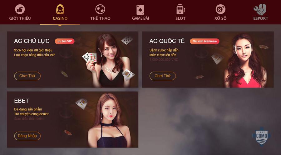 Casino online tại K8 đa dạng