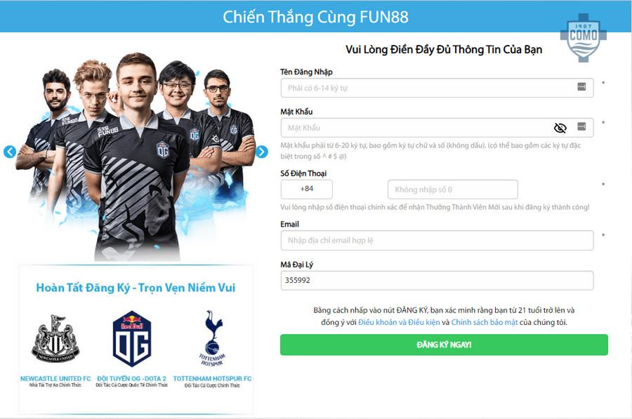 Hướng dẫn cách đăng ký tài khoản Fun88