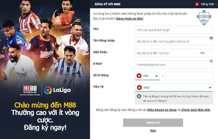 Hướng dẫn cách đăng ký tài khoản tại M88