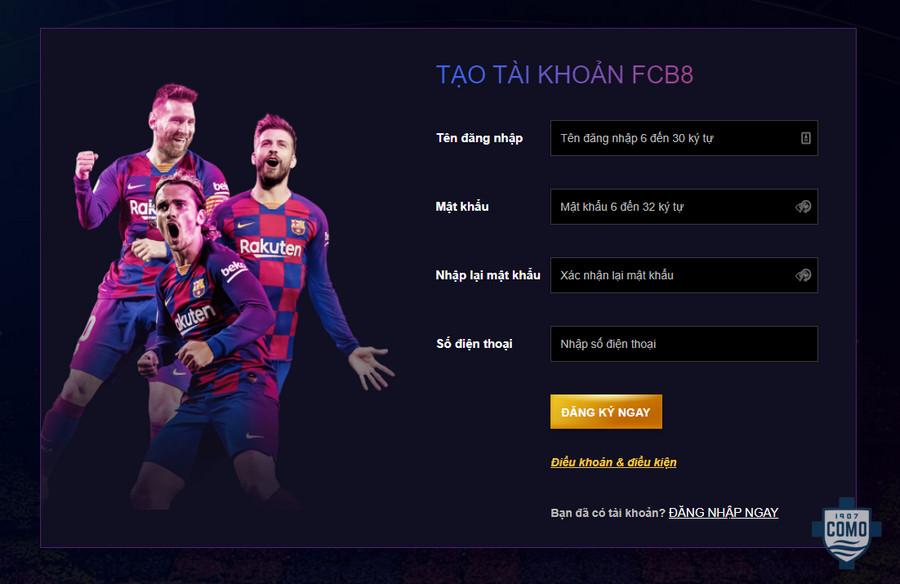 Hướng dẫn đăng ký tài khoản tại FCB8