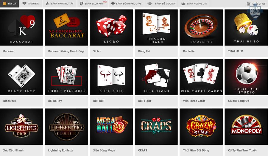 Sảnh chơi casino online tại nhà cái 188bet rất đa dạng