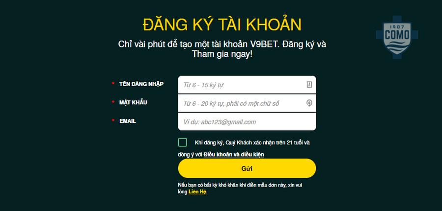Cách đăng ký tài khoản tại V9bet
