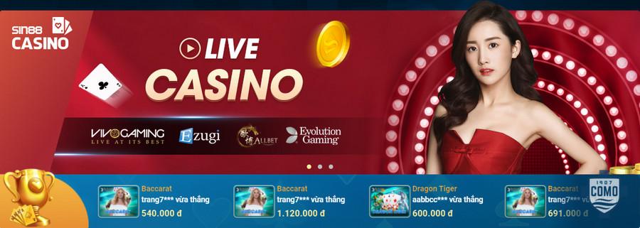 Chơi casino online tại nhà cái Sin88