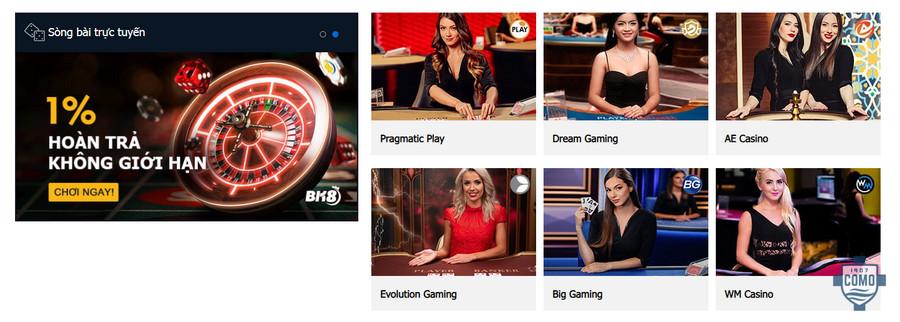 hệ thống cá cược casino online tại nhà cái BK8