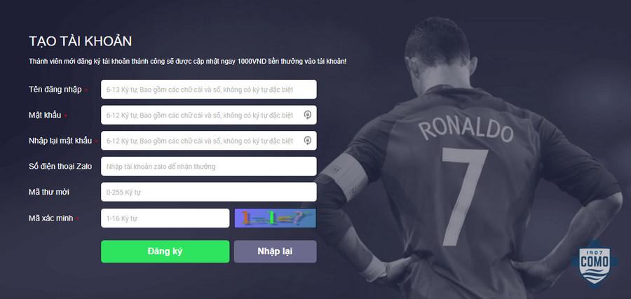 Hướng dẫn đăng ký tài khoản tại 7ball